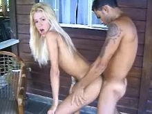 Blond tranny likes juice very much