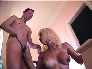 Two hot dudes come on lewd shemale