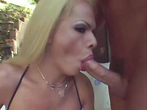 Blonde shemale sucking cock and fucking outdoor