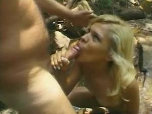 Blonde shemale gets facial after fuck near river