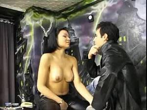 Beauty tranny in stockings sucks and fucks in studio