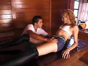 Blonde shemale in hight boots and guy jizz after sex