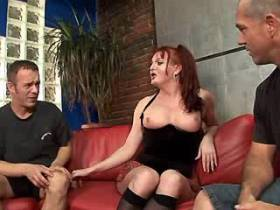 Crummy shemale in stockings fucking with two men