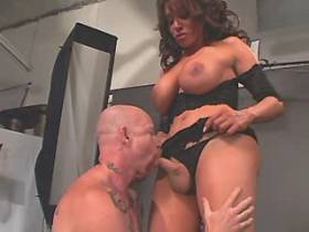 Busty tranny and bald guy fuck each other and jizz