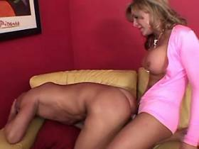 Cute blonde shemale and guy fuck each other and jizz