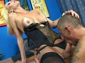Blond shemale and guy fucking each other and jizzing